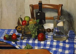 Still Life with Blue Checkered Tablecloth - Felix Vallotton oil painting