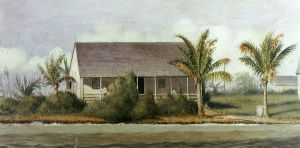 Cottage on Beach with Palm Trees (Florida) - William Aiken Walker Oil Painting
