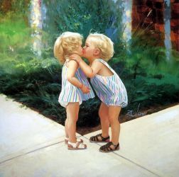 Twins Kissing - Donald Zolan Oil Painting
