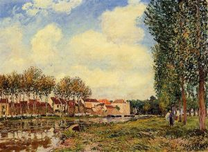 Banks of the Loing at Moret, Morning - Alfred Sisley Oil Painting