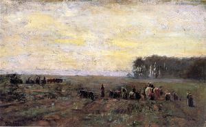 Haying Scene - Theodore Clement Steele Oil Painting