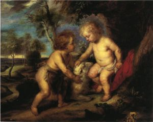 The Christ Child and the Infant St. John after Rubens - Theodore Clement Steele Oil Painting