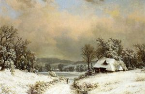Winter in the Country - William Mason Brown Oil Painting