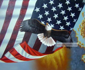 The eagle behind American national flag