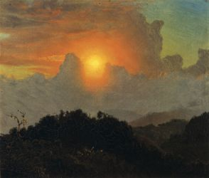 Cloudy Skies, Sunset, Jamaica - Frederic Edwin Church Oil Painting