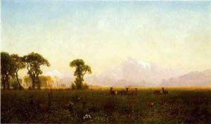 Deer Grazing, Grand Tetons, Wyoming - Albert Bierstadt Oil Painting