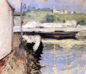Fish Sheds and Schooner, Gloucester - William Merritt Chase Oil Painting