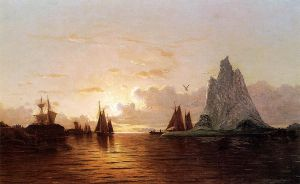 Sunset at the Strait of Belle Isle - William Bradford Oil Painting