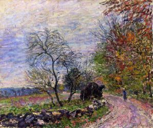 Along the woods in Autumn - Alfred Sisley Oil Painting