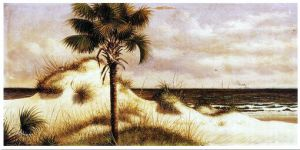 Sand Dunes, Palmetto (Sabal) and Steamboat - William Aiken Walker Oil Painting