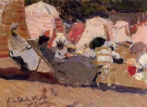 The Beach at Biarritz -   Joaquin Sorollay Bastida Oil Painting