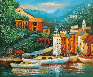 Lazy Boat Dock II - Oil Painting Reproduction On Canvas
