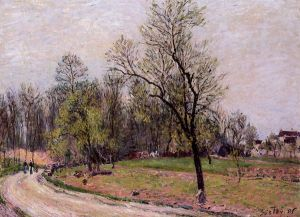 Edge of the Forest in Spring, Evening - Alfred Sisley Oil Painting