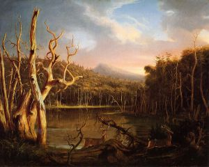 Lake with Dead Trees - Thomas Cole Oil Painting