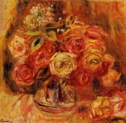 Roses in a Vase 6 -  Pierre Auguste Renoir Oil Painting