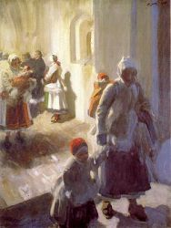 Christmas Morning Service - Anders Zorn Oil Painting
