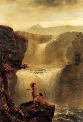 Hiawatha and Minnehaha on Their Honeymoon -   Jerome Thompson Oil Painting
