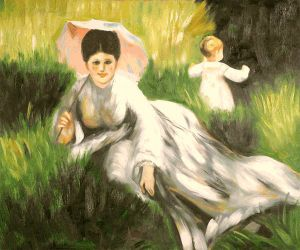 Woman with a Parasol and a Small Child on a Sunlit Hillside - Pierre Auguste Renoir Oil Painting