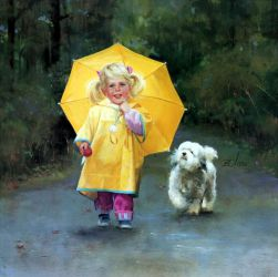 Rainy Day Pals - Donald Zolan Oil Painting