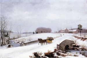 Sleigh Ride on a Gray Day - Thomas Birch Oil Painting
