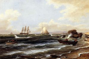 Going Ashore - Thomas Birch Oil Painting