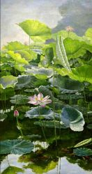Lotus Flower Oil Painting Reproduction On Canvas Oil Paintings