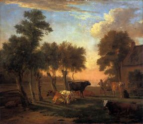 Cows in a Meadow by a Farm - Paulus Potter Oil Painting