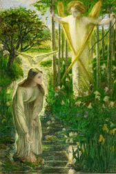 The Annunciation II - Dante Gabriel Rossetti Oil Painting