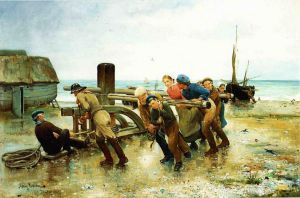 Hauling a Ship - Henry Bacon Oil Painting