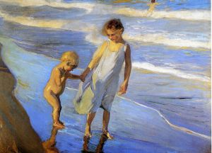 Valencia, Two LIttle Girls on a Beach -  Joaquin Sorolla y Bastida Oil Painting
