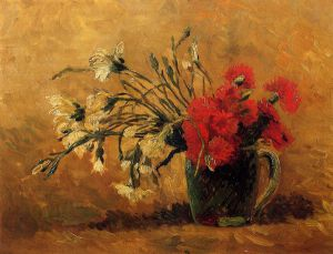 Vase with Red and White Carnations on a Yellow Background - Vincent Van Gogh Oil Painting