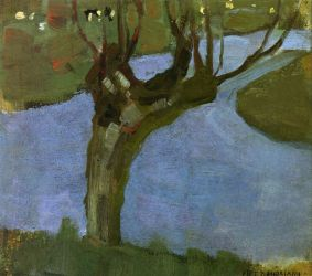 Irrigation Ditch with Mature Willow - Piet Mondrian Oil Painting