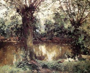 Landscape, Banks of the Yerres - Gustave Caillebotte Oil Painting