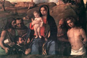 Madonna and Child with Four Saints and Donator - Giovanni Bellini Oil Painting