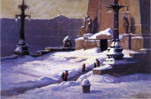 Monument in the Snow - Theodore Clement Steele Oil Painting