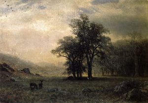 Deer in a Landscape - Albert Bierstadt Oil Painting