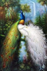 Tow Peacocks - Oil Painting Reproduction On Canvas