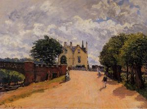 Inn at East Molesey with Hampton Court Bridge - Alfred Sisley Oil Painting