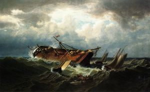 Shipwreck off Nantucket - William Bradford Oil Painting