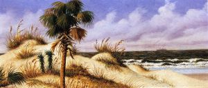 Florida Seascape with Sand Dune, Palm Tree, and Steamship - William Aiken Walker Oil Painting