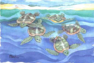 Turtles - Oil Painting Reproduction On Canvas