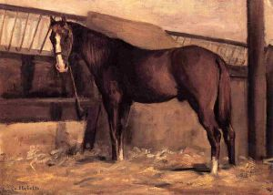 Yerres, Reddish Bay Horse in the Stable - Gustave Caillebotte Oil Painting
