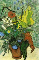 Wild Flowers and Thistles in a Vase - Vincent Van Gogh Oil Painting
