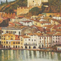 Malcesine on Lake Garda,1913 - Oil Painting Reproduction On Canvas