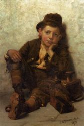 The Little Shoe-Shine Boy - John George Brown Oil Painting