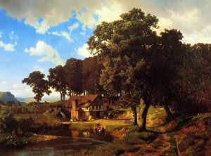 A Rustic Mill - Albert Bierstadt Oil Painting