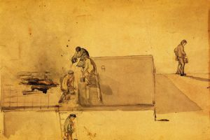 A Fire at Pomfret - James Abbott McNeill Whistler Oil Painting