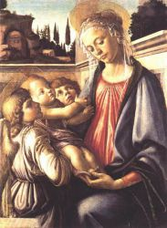 Madonna and Child and Two Angels - Sandro Botticelli oil painting
