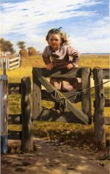 Swinging on a Gate, Southampson, New York - John George Brown Oil Painting