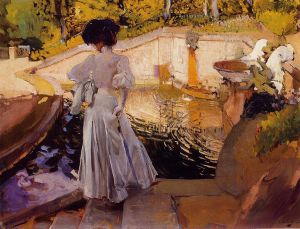 Maria, Watching the Fish, Granja - Oil Painting Reproduction On Canvas